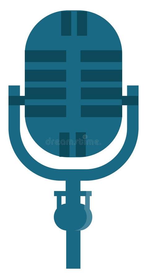 Um microfone azul montado em um pequeno suporte para falar ou gravar desenho ou ilustração de cores do vetor de música ilustração stock