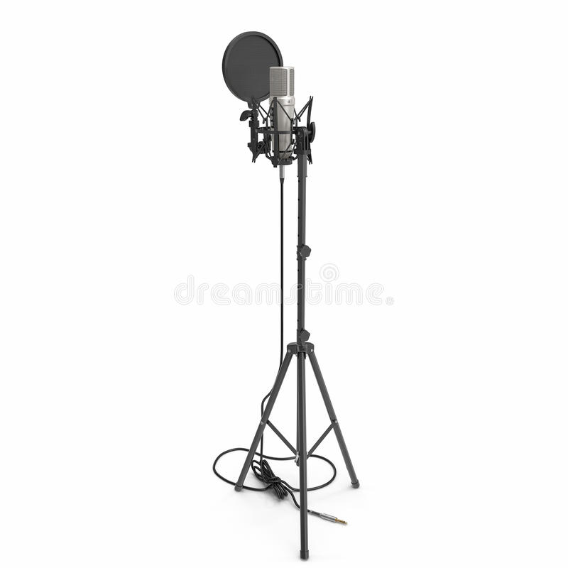 Um microfone de condensador com o suporte isolado no branco ilustração 3D ilustração stock