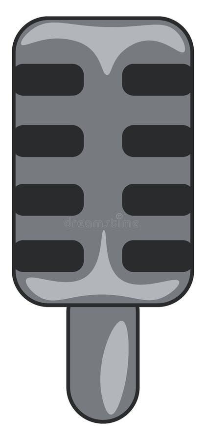Um microfone preto amplamente usado para falar ou gravar desenho ou ilustração de cores do vetor de música ilustração stock