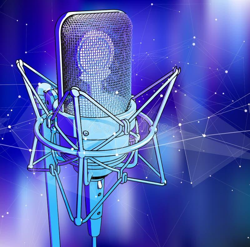 Um microfone profissional em um fundo tecnologico azul frio é cercado por uma onda sadia ilustração do vetor
