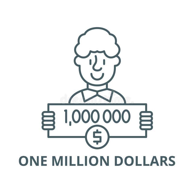 Um milhão de dólares de linha ícone do vetor, conceito linear, sinal do esboço, símbolo ilustração do vetor