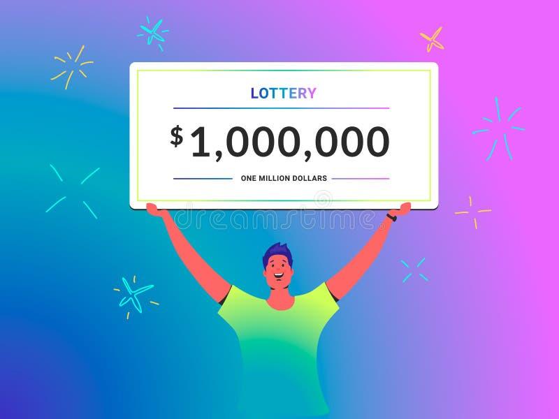 Um milhão de do cheque do conceito dólares de ilustração do vetor de posses do homem novo sobre seu certificado grande principal  ilustração do vetor