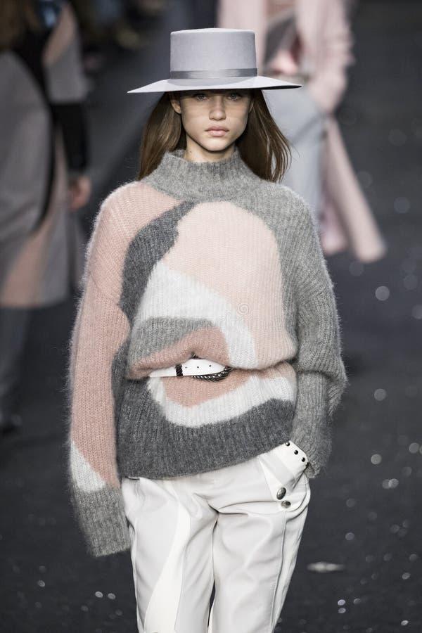 Um modelo anda a pista de decolagem na mostra de Alberta Ferretti em Milan Fashion Week Autumn /Winter 2019/20 imagem de stock