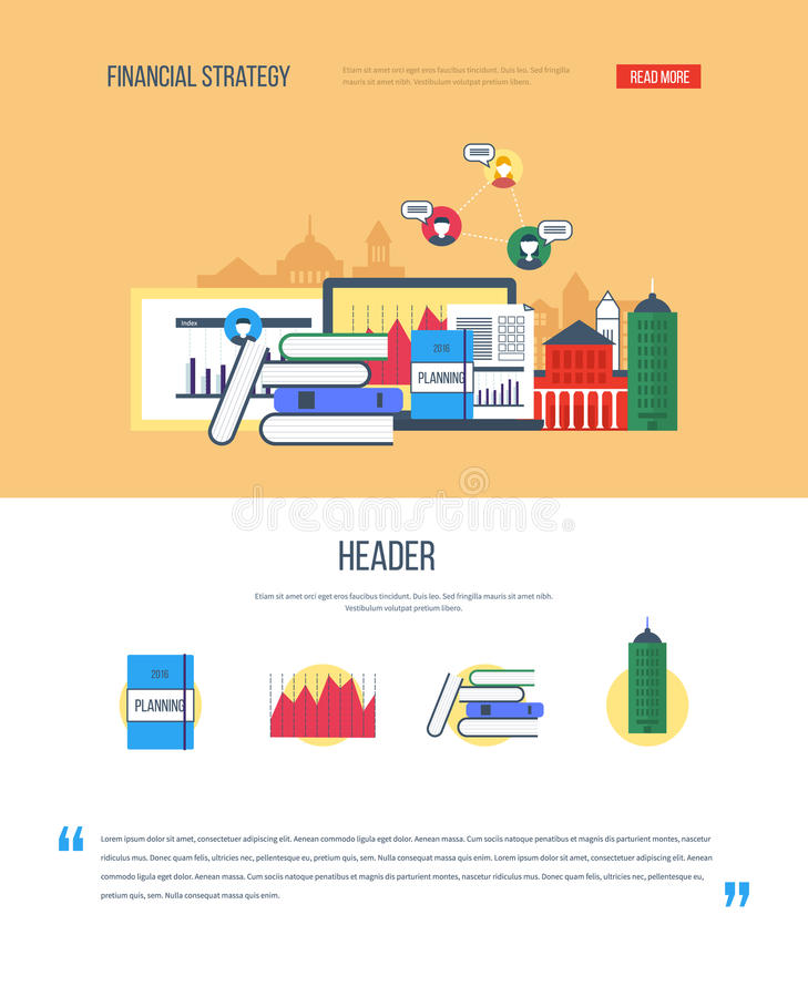Um molde do design web da página com ícones da estratégia financeira ilustração royalty free