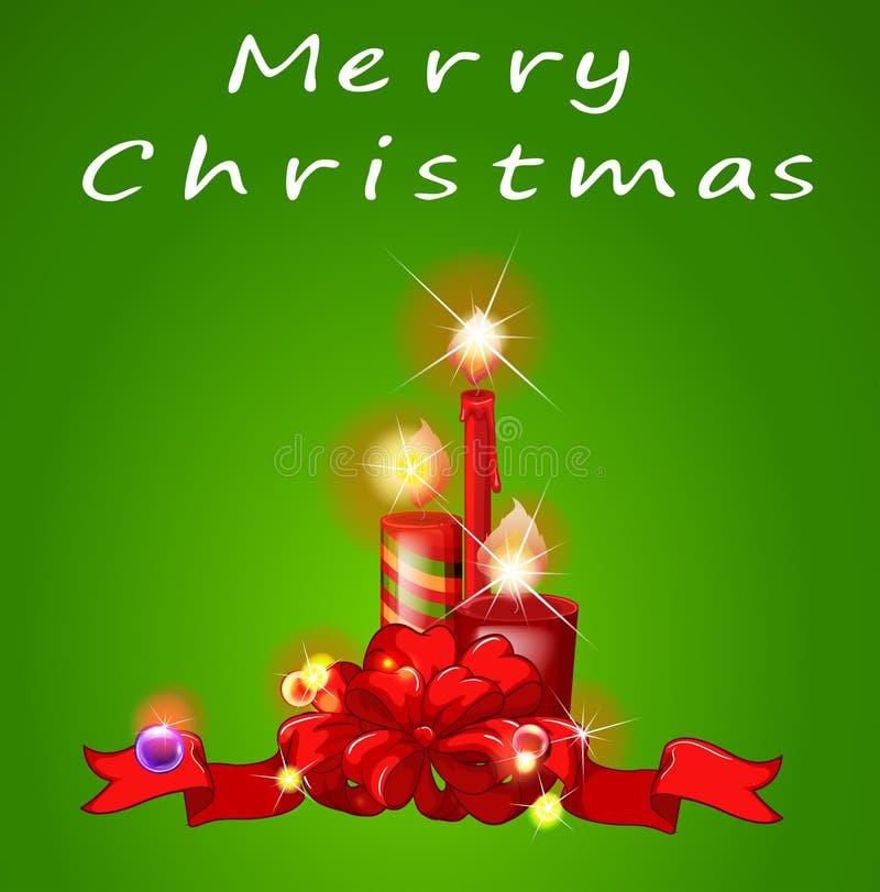 Um molde do Natal com velas ilustração stock