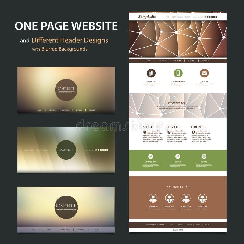 Um molde do Web site da página e projetos diferentes do encabeçamento com fundos borrados ilustração do vetor