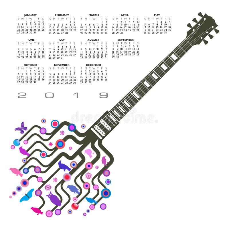 Um molde musical da guitarra abstrata com um chapéu ilustração royalty free