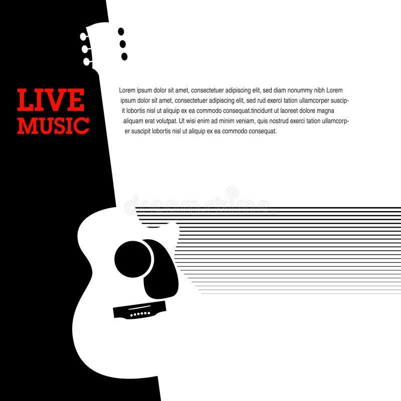 Um molde musical da guitarra abstrata com um chapéu ilustração stock