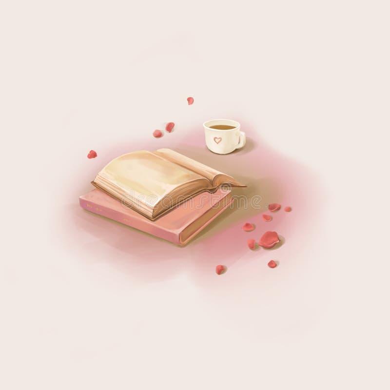Um momento agradável: Livro de leitura e café bebendo ilustração stock