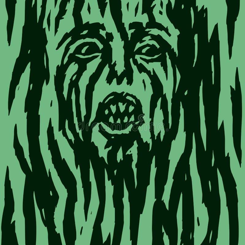 Um monstro com uma cara do ` s da mulher que cresce fora de uma árvore Ilustração do vetor ilustração do vetor