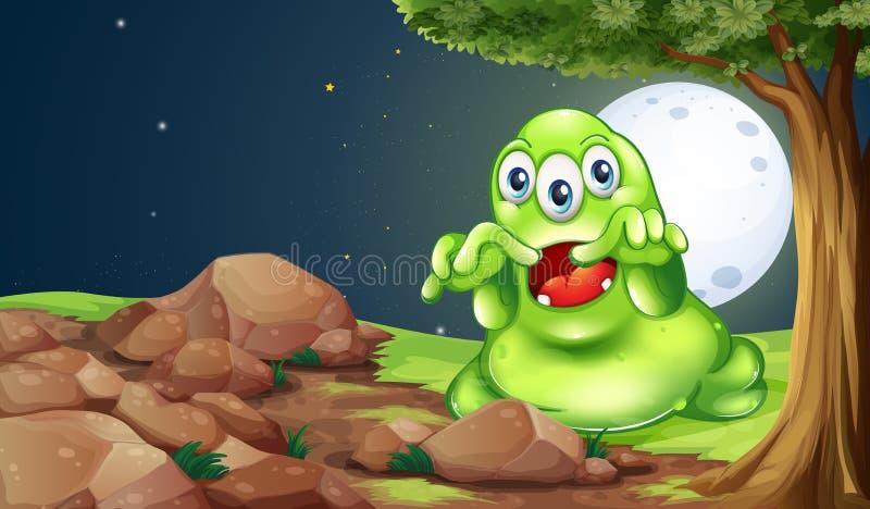 Um monstro verde assustador perto das rochas sob a árvore ilustração do vetor