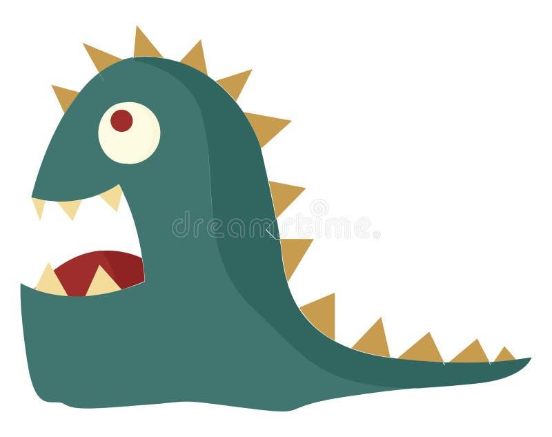 Um monstro verde e amarelo de rio parece um vetor assustador ou ilustração colorida ilustração stock