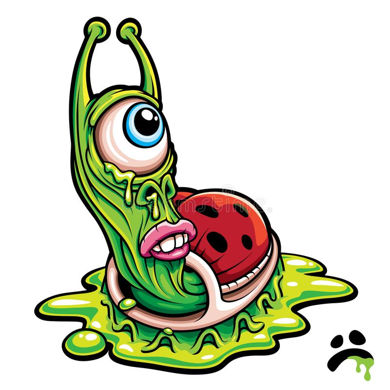 Um monstro verde eyed triste da lesma ilustração stock