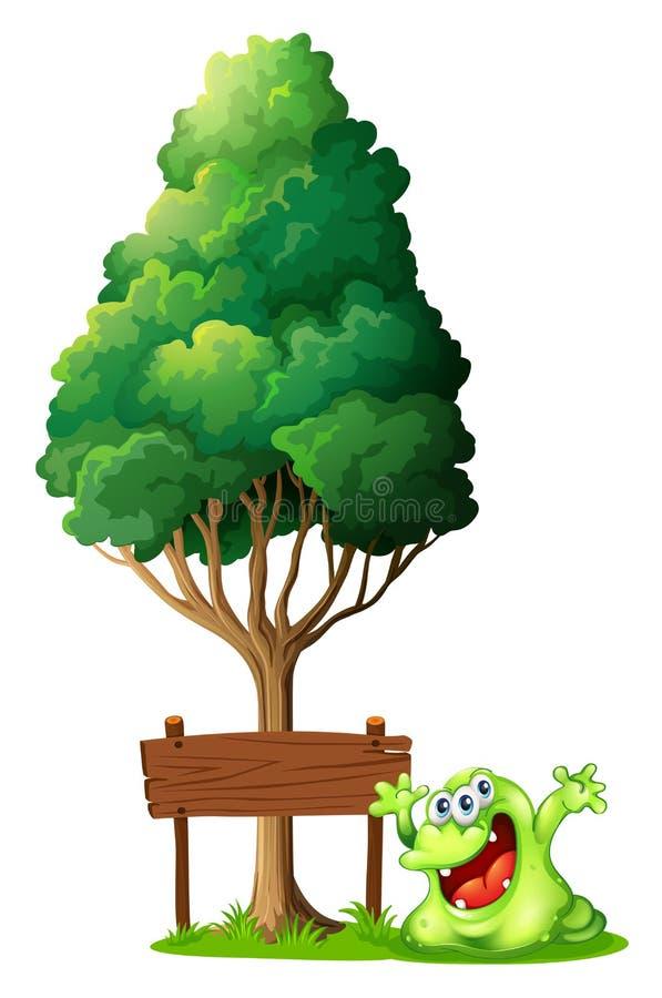 Um monstro verde feliz ao lado do signage de madeira vazio sob ilustração stock