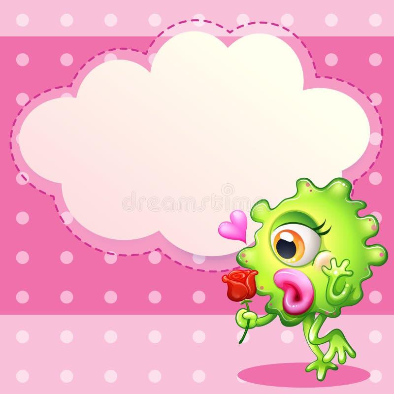 Um monstro verde que guarda uma rosa vermelha ilustração stock