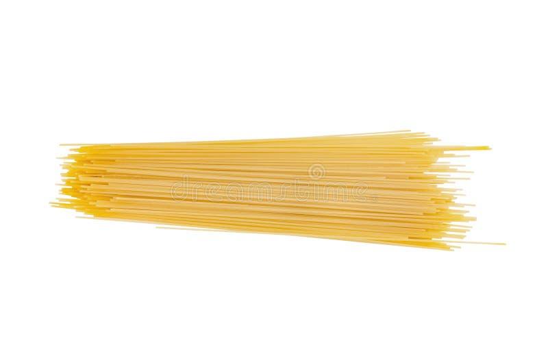 Um montão dos espaguetes longos crus isolados no fundo branco fotografia de stock