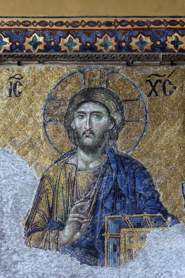 Um mosaico bonito de Jesus Christ em uma parede dentro de Aya Sofya no distrito de Sultanahmet de Istambul em Turquia foto de stock