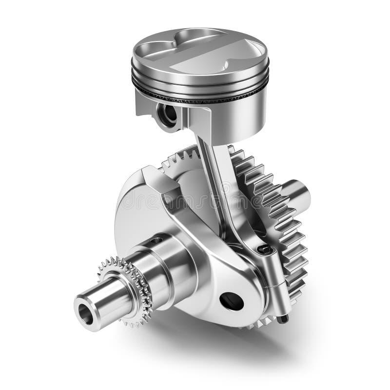Um motor da engrenagem da manivela do pistão isolado no fundo branco 3d ilustração royalty free