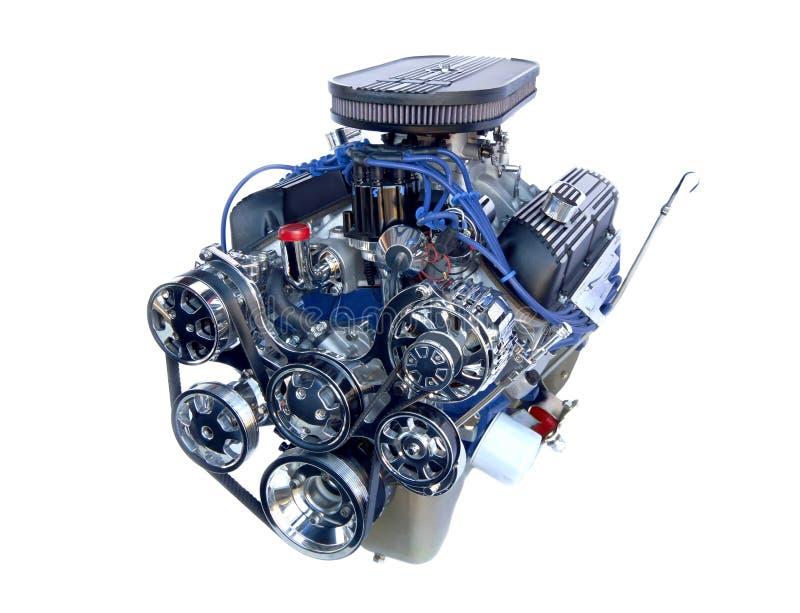 Um motor de V8 do cromo do elevado desempenho fotografia de stock royalty free