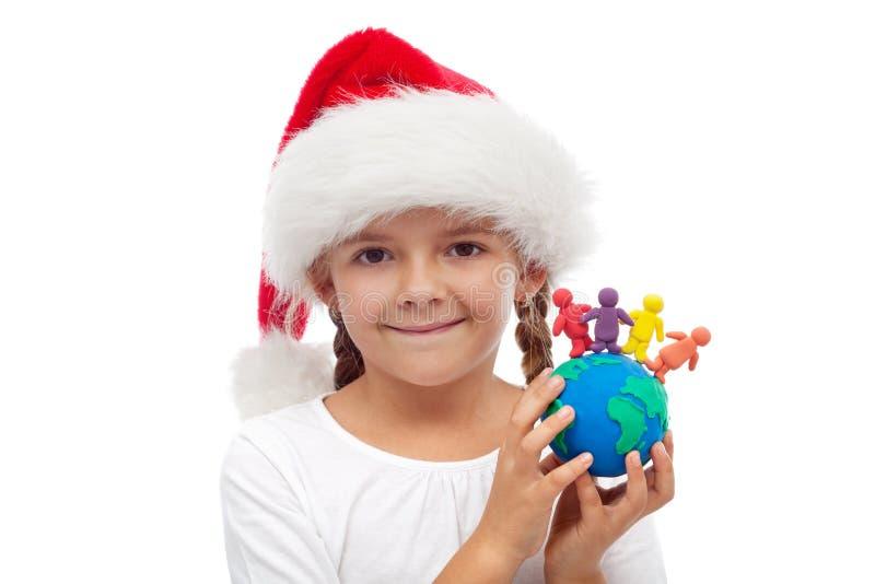 Um mundo do conceito dos povos do Natal feliz fotos de stock royalty free