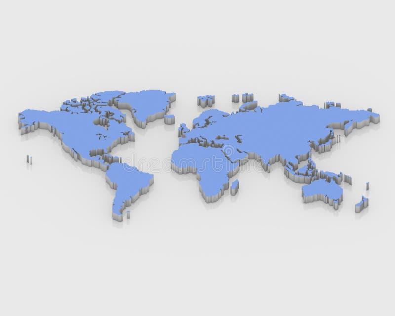 Um mundo do mapa 3D ilustração do vetor
