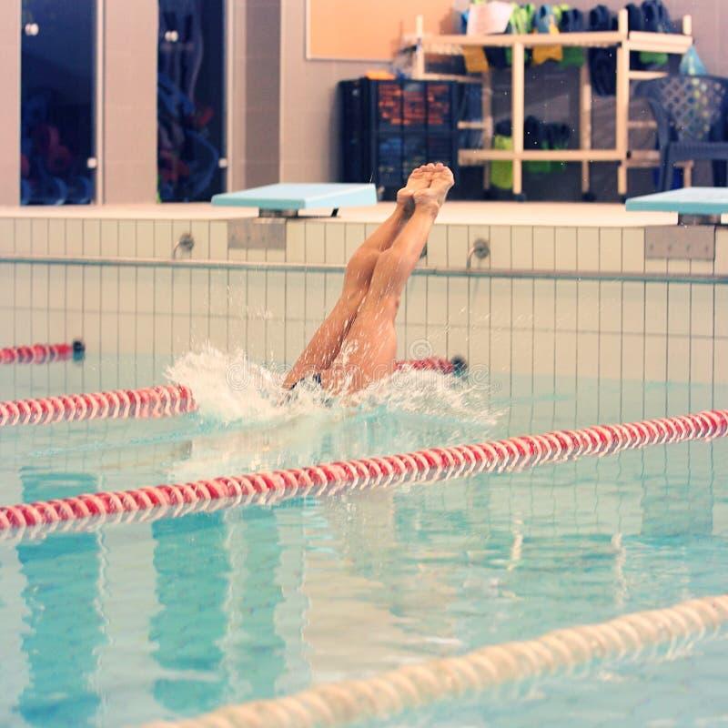 Um nadador fêmea, esse salto e mergulho na piscina do esporte interno Mulher desportiva imagem de stock
