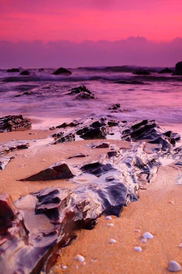 Um nascer do sol no lado da praia imagens de stock