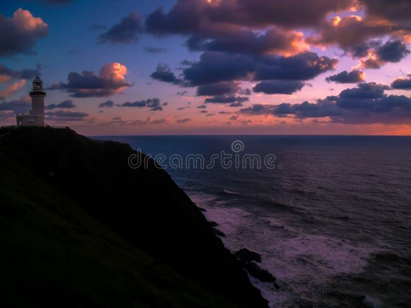 Um nascer do sol simplesmente impressionante sobre Byron Bay, Austrália imagem de stock royalty free