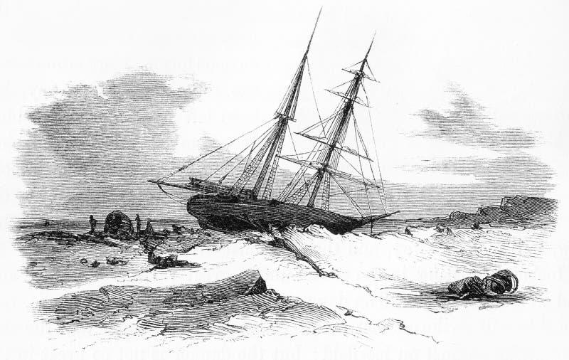 um navio de navigação colou no gelo durante um inverno ártico ilustração royalty free