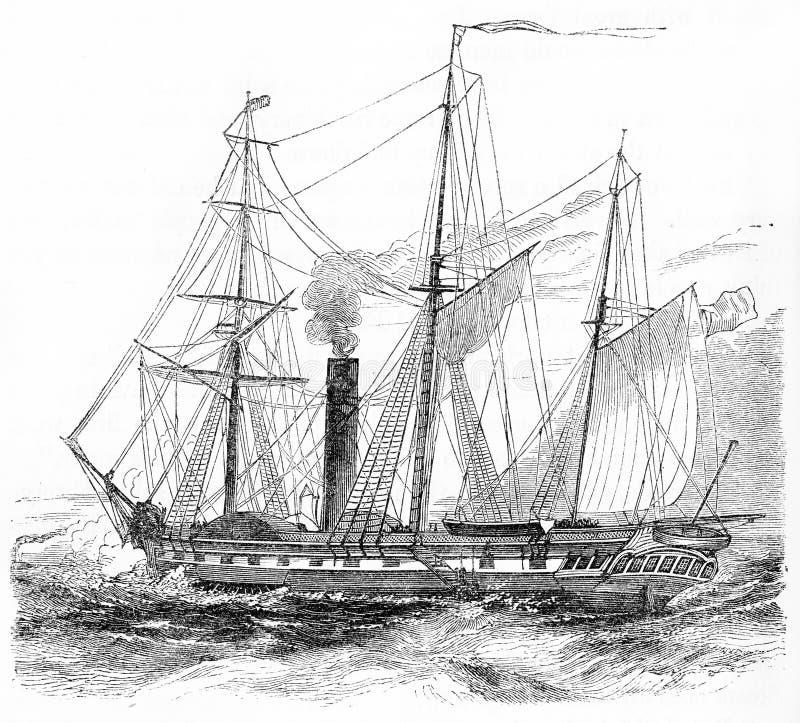 Um navio de navigação equipado com as caldeiras de vapor ilustração stock