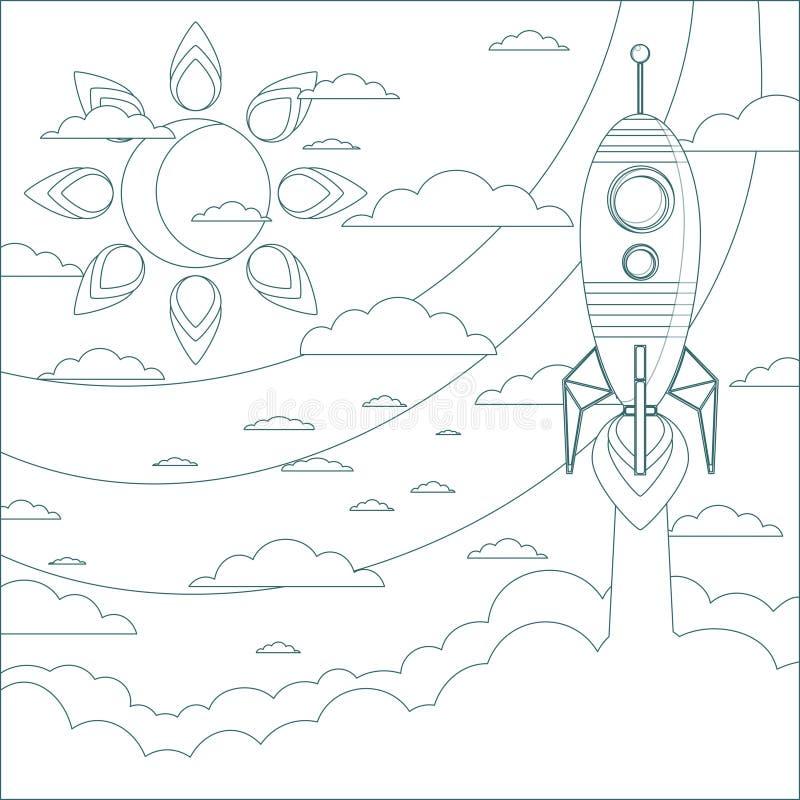 Um navio do foguete voa no céu ilustração do vetor