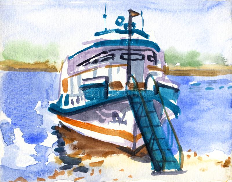 Um navio do motor no rio ou no mar R?ssia Esbo?o da aquarela ilustração stock