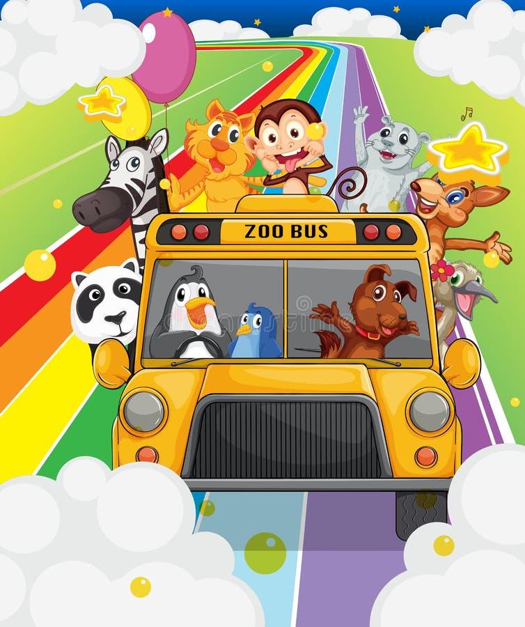 Um ônibus do jardim zoológico completamente dos animais ilustração do vetor
