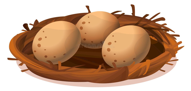 Um ninho com três ovos ilustração royalty free