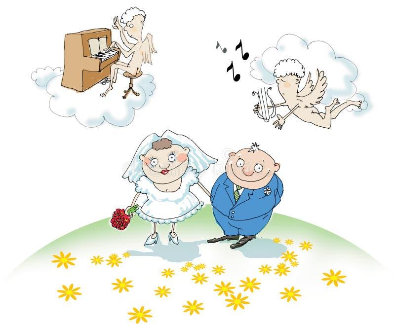 Um noivo e uma noiva com anjos   fotos de stock royalty free