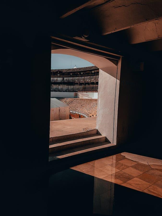 Um olhar dentro do estádio de Malaga fotos de stock