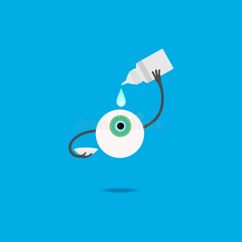 Um olho humano dos desenhos animados goteja gotas antes de pôr sobre uma lente de contato ilustração do vetor