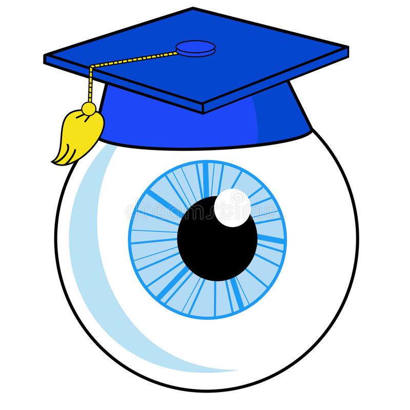 Um Olho Humano Está Em Um Chapéu Da Universidade Fotografia de Stock