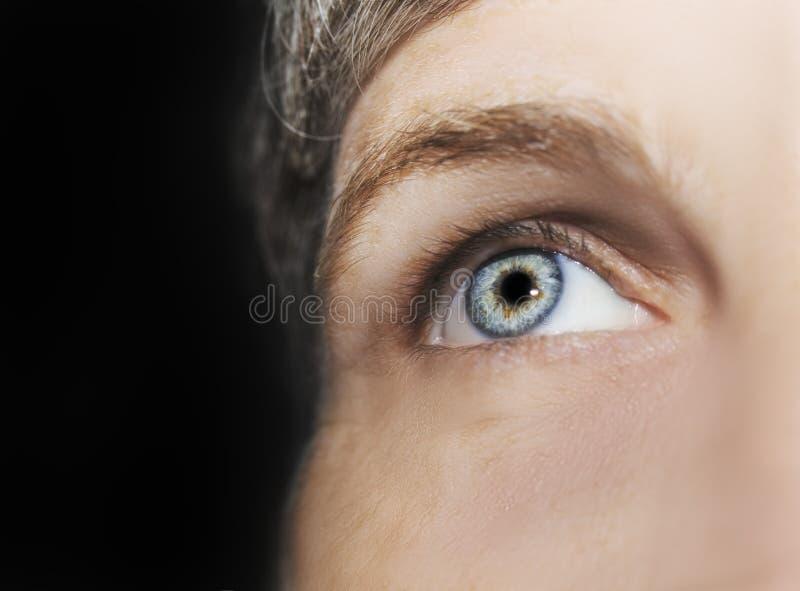 Um olho perspicaz bonito do olhar Feche acima do tiro O olho de uma mulher idosa imagens de stock royalty free