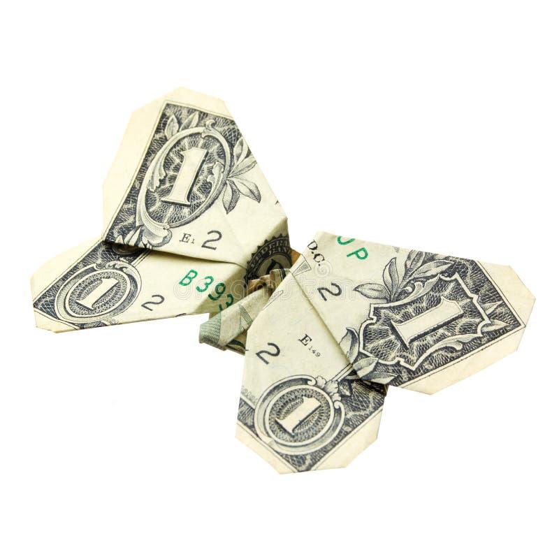 Um origami do dólar. Isolado fotos de stock