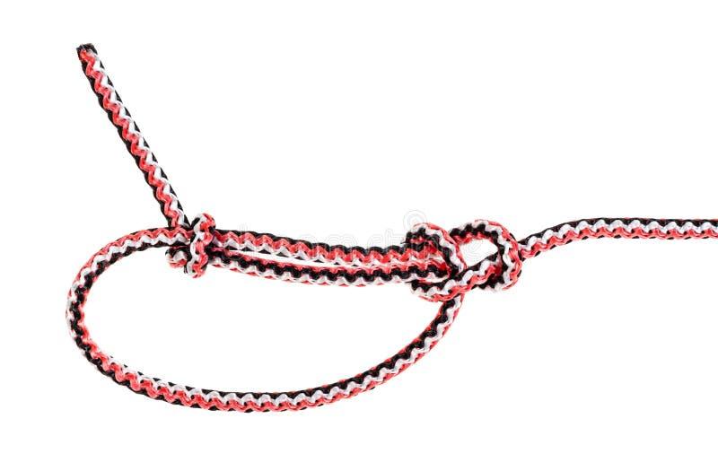 um outro nó de bolina lateral amarrado na corda sintética imagens de stock