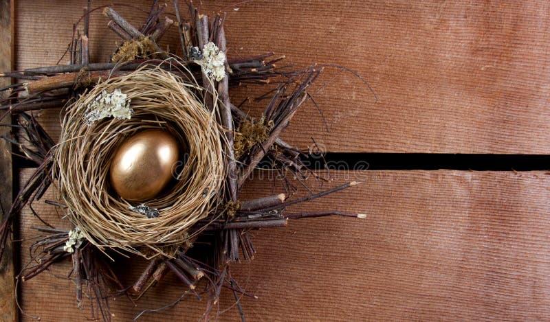 Um ovo de ninho dourado foto de stock