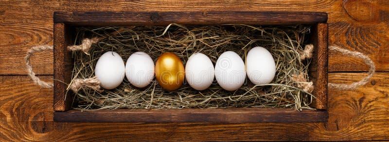 Um ovo dourado entre a fileira do branco na caixa de madeira imagens de stock royalty free