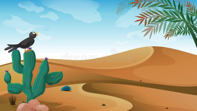 Um pássaro acima da planta do cacto no deserto ilustração royalty free