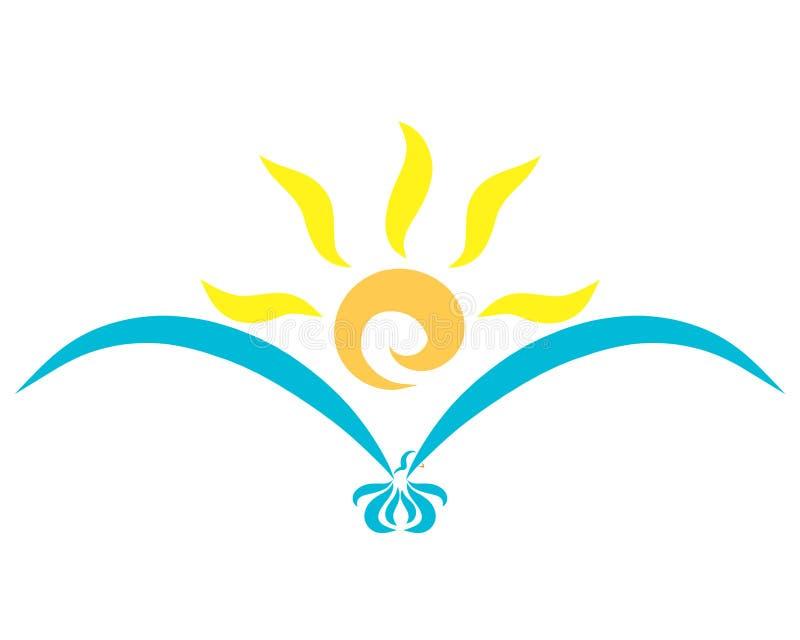 Um pássaro azul do voo e um sol de brilho em suas asas ilustração stock