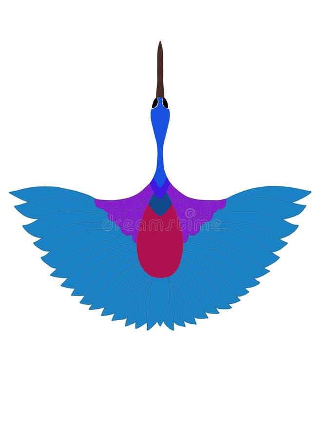 Um pássaro de voo com fundo branco ilustração royalty free