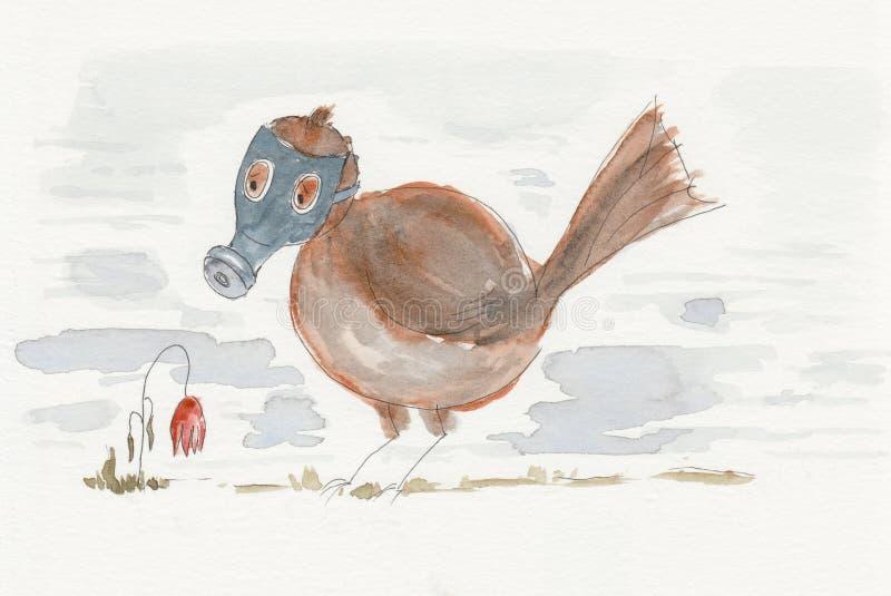Um pássaro em uma máscara de gás e uma morte florescem ilustração stock