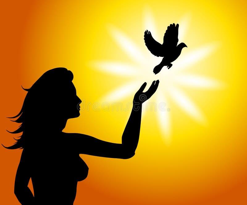 Um pássaro no livre ajustado da mão ilustração royalty free