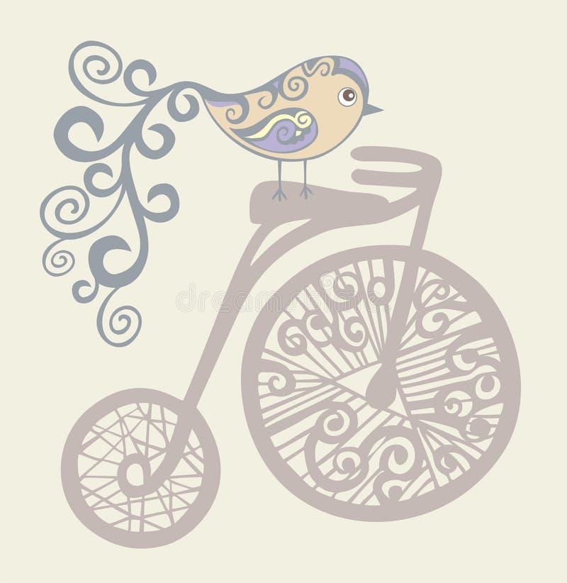 Um pássaro pequeno em uma bicicleta velha. Retro, pi do vintage ilustração stock