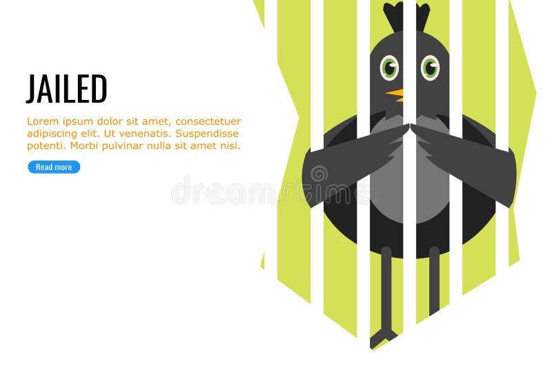 Um pássaro preto na cadeia ilustração stock